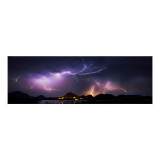 "Lightning Panorama 36""x11.75"" Poster"