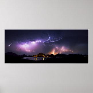 Lightning Panorama Poster