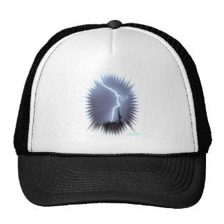 Lightning Silhouettes a Saguaro Cactus Flash Trucker Hat