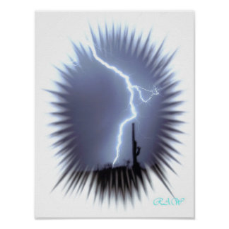 Lightning Silhouettes a Saguaro Cactus - Flash Print
