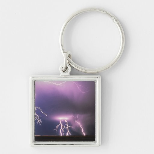Lightning. Silver-Colored Square Keychain