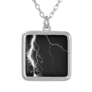 Lightning. Silver Plated Necklace