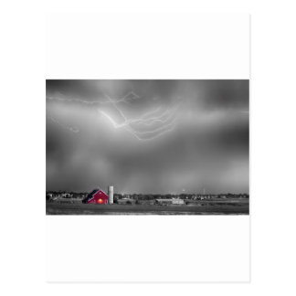 Lightning Storm And The Big Red Barn BWSC Postcard