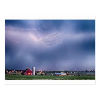 Lightning Storm And The Big Red Barn Postcard