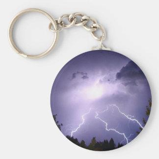 Lightning Storm Basic Round Button Keychain