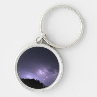 Lightning storm on purple sky keychain