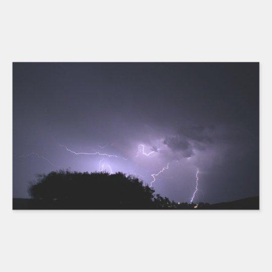 Lightning storm on purple sky rectangular sticker