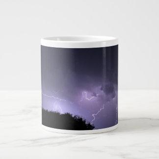 Lightning storm on purple sky jumbo mug