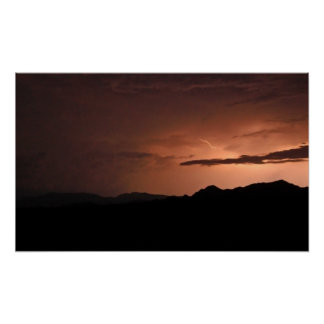 Lightning Storm outside Quartzite, Arizona Poster