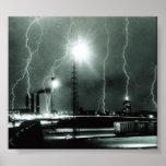 Lightning storm over Boston Poster