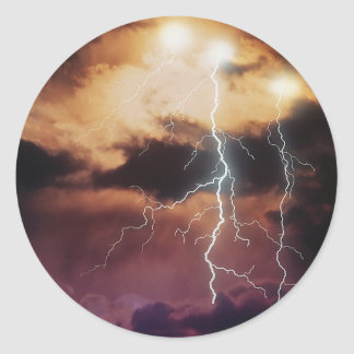 Lightning Storm Round Stickers