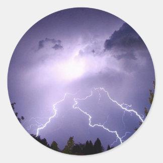 Lightning Storm Classic Round Sticker