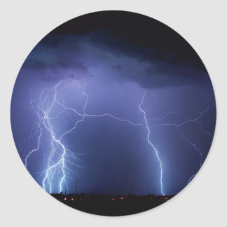 Lightning Strike 3 Classic Round Sticker