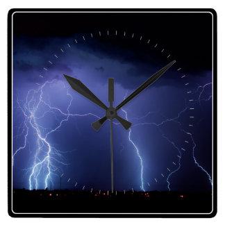 Lightning Strike 3 Square Wall Clock