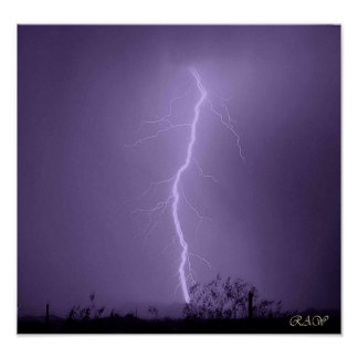 Lightning strike behind The Vulture Mountains Print