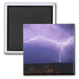 Lightning strike over desert, Big Bend 2 Inch Square Magnet
