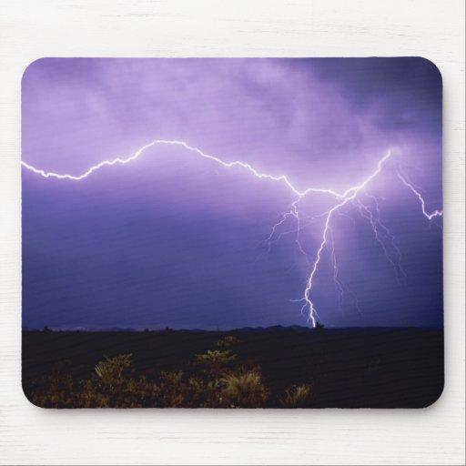 Lightning strike over desert, Big Bend Mousepad
