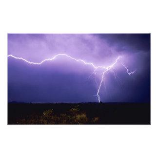 Lightning strike over desert, Big Bend Photo Print