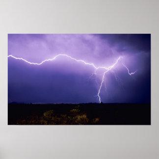 Lightning strike over desert, Big Bend Poster