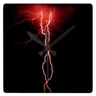 Lightning Strike Square Wall Clock