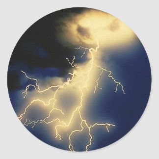 Lightning Strikes Classic Round Sticker