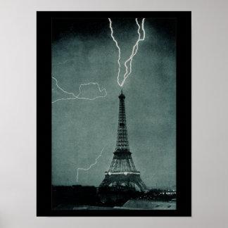 Lightning Strikes Eiffel Tower Vintage Photograph Poster