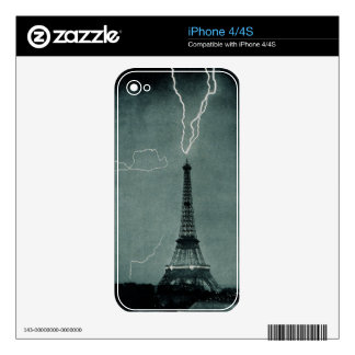 Lightning Strikes Eiffel Tower Vintage Photograph Skin For iPhone 4S