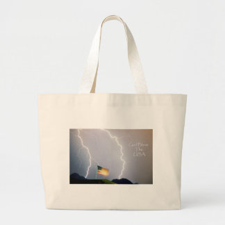 Lightning Strikes God Bless the USA Tote Bags