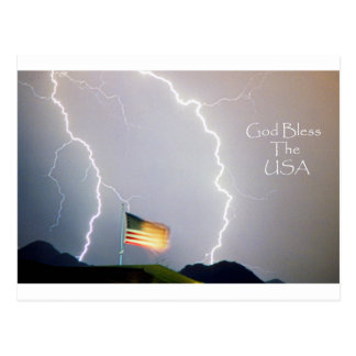 Lightning Strikes God Bless the USA Postcard
