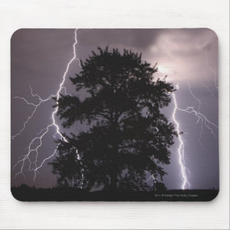 Lightning Strikes In The Sky Behind A Tree Mouse Pad
