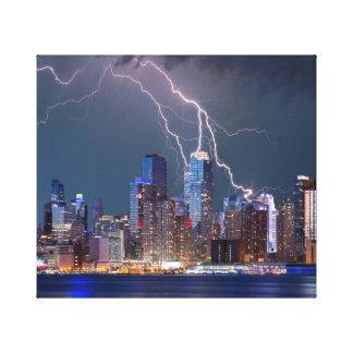 Lightning Strikes Modern New York City Skyline Canvas Print