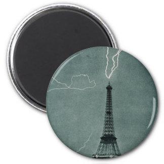 Lightning Strikes the Eiffel Tower 1902 Magnets