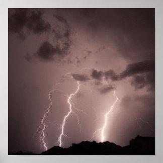 Lightning strikes the mountains poster