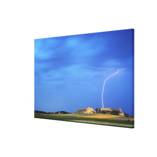 Lightning strikes the Wildcat Hills near Canvas Print