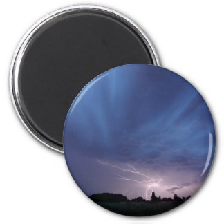 Lightning Striking During Thunderstorm 2 Inch Round Magnet