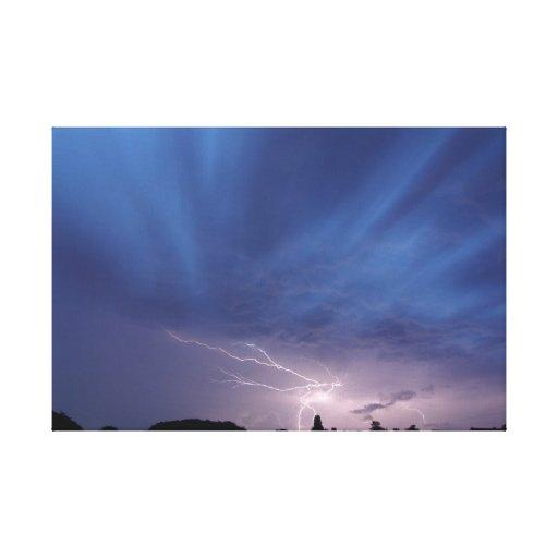 Lightning Striking During Thunderstorm Canvas Print