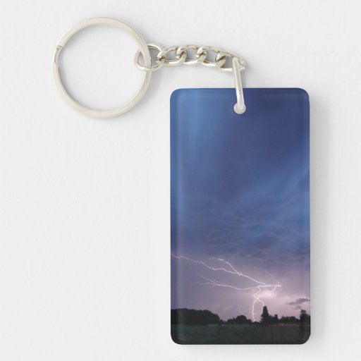 Lightning Striking During Thunderstorm Acrylic Key Chains