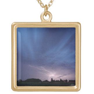 Lightning Striking During Thunderstorm Square Pendant Necklace