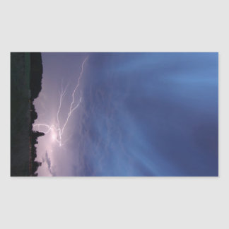 Lightning Striking During Thunderstorm Rectangular Sticker