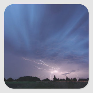 Lightning Striking During Thunderstorm Square Sticker