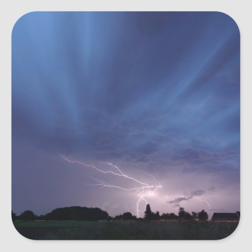 Lightning Striking During Thunderstorm Stickers