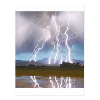 Lightning Striking Longs Peak Foothills 4C. Postcard