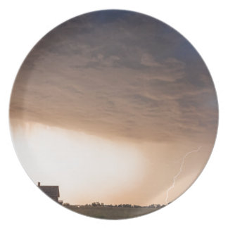 Lightning Striking On The Colorado Prairie Plains Melamine Plate