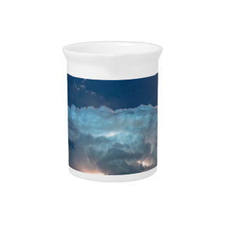 Lightning Striking Storm and Full Moon Bright Drink Pitchers