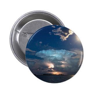 Lightning Striking Storm and Full Moon Bright Pinback Button