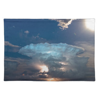 Lightning Striking Storm and Full Moon Bright Placemat