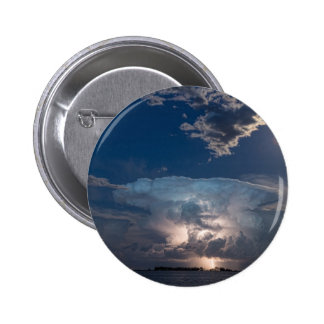 Lightning Striking Thunderstorm Cell and Full Moon Pinback Button