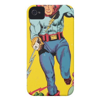 Lightning Superhero fights a dragon to save alien iPhone 4 Covers