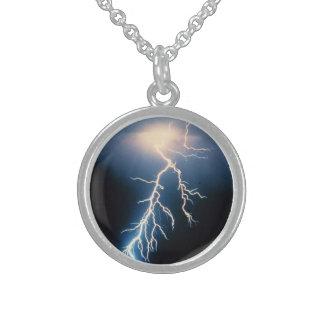 Lightning Surge Round Pendant Necklace