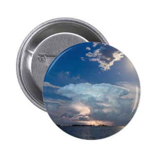 Lightning Thunderstorm Cell and Moon Pinback Button